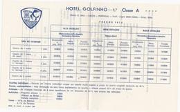 PORTUGAL COMMERCIAL DOCUMENT - HOTEL GOLFINHO - LAGOS - ALGARVE - 1972 - Portugal