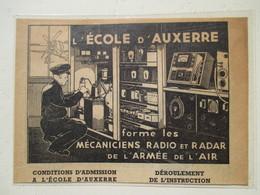 Ecole D'Auxerre - Mécaniciens Radio Et Radar Armée De L'Air  -  Coupure De Presse De 1948 - GPS/Radios