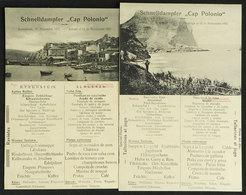 GERMANY: Ship CAP POLONIO: 2 Handsome Menus (lunch), Dated 11 And 12/NO/1922, VF Quality - Menus