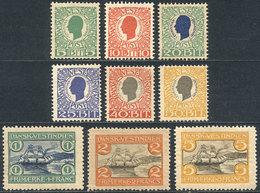 DANISH ANTILLES: Sc.31/39, 1905 King Christian IX And Port Of St. Thomas, Complete Set Of 9 Values, Unused, VF Quality,  - Danimarca (Antille)