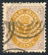 DANISH ANTILLES: Sc.9, 1874 7c. Used, VF Quality! - Denmark (West Indies)
