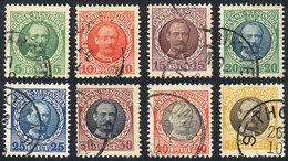 DANISH ANTILLES: Sc.43/50, 1908 Cmpl. Set Of 8 Used Values, VF Quality! - Danimarca (Antille)