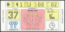 ARGENTINA: Ticket For Match 37 (semi-final Between Italy And Brazil) Of The Argentina 78 Football World Cup, Unused And  - Toegangskaarten