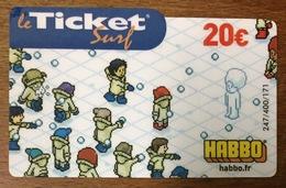 HABBO N°1 TICKET SURF 20 EURO CARTE PRÉPAYÉE INTERNET 2007 CARTE A CODE PHONECARD NO TELECARTE POUR COLLECTION - Surf