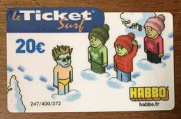 HABBO N°2 TICKET SURF 20 EURO CARTE PRÉPAYÉE INTERNET 2007 CARTE A CODE PHONECARD NO TELECARTE POUR COLLECTION - Surf