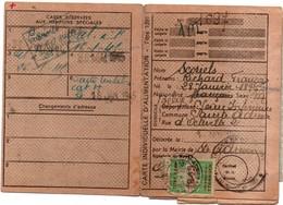 Recensement étranger 1945 - Fiscal Sur Carte Individuelle Alimentation - 3 Scans - Revenue Stamps