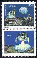 POLAND 1969 SPACE 1ST MANNED LUNAR LANDING MAN ON THE MOON LABEL T4 NHM Armstrong Aldrin Collins USA View Earth Crater - Ongebruikt
