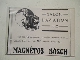 Aviation Magnétos BOSCH Pour Aéroplane - Coupure De Presse De 1912 - GPS/Radios