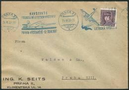 CZECHOSLOVAKIA: Cover Posted On 24/JUN/1937 With Nice Postmark With Slogan Topic AVIATION, VF Quality! - Czechoslovakia