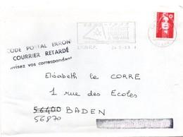 Code Postal Erroné - Courrier Retardé - Avisez Vos Correspondants - Apposé à Baden 56 Sur Lettre De Lyon 1993 - Marcophilie (Lettres)