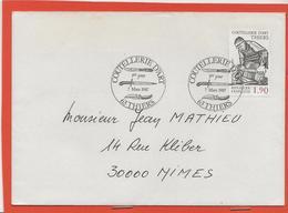M39 COURRIER CACHET MANUEL + TIMBRE LA COUTELLERIE D ART 63 THIER 7/3/1987 - Marcophilie (Lettres)