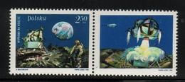 POLAND 1969 SPACE 1ST MANNED LUNAR LANDING MAN ON THE MOON LABEL T2 NHM Armstrong Aldrin Collins USA View Earth Crater - Ongebruikt