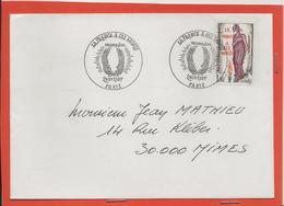 M39 COURRIER CACHET MANUEL + TIMBRE LA FRANCE A SES MORTS 2/11/1985 - Marcophilie (Lettres)