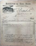 Manufactures De Crins Frisés. Préparation De Soies Fabrique De Pinceaux & Brosses C.Baud & Cie, Lyon 25 Juillet 1889 - 1800 – 1899