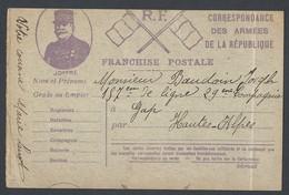 Guerre 14-18 2 Cartes Franchise Postale Illustration Drapeau Et Joffre - Guerre De 1914-18