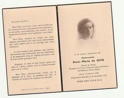 Décès Anne-Marie DE GIVE Enfant De Marie Membre Union De Prières Bannuex Notre-Dame  1916- 1946 - Images Religieuses