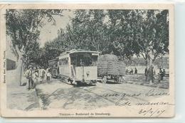 CPA TRANSPORTS CHEMIN DE FER TOULON TRAMWAYS BOULEVARD DE STRASBOURG MARIUS BAR.PHOT 1907 VOIR IMAGES - Tramways