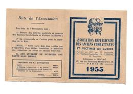 Carte N°191474 Association Républicaine Des Anciens Combattants Et Victimes De Guerre En 1955 + Timbres Collés - Cartes