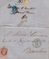 Año 1856 Edifil 48 Sello 4c Isabel II Carta Matasellos Azul Rejilla Y Azul Zaragoza Membrete Manuel Frances Fabrica Javo - 1850-68 Reino: Isabel II