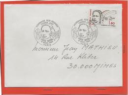 M39 COURRIER CACHET MANUEL + TIMBRE LOUISE MICHEL HOMMAGE AUX FEMMES 8/3/1986 - Marcophilie (Lettres)