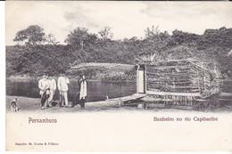 Cpa Old Pc Brésil Pernambuco Banheiro Rio Caribaribe Vierge - Recife
