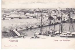 Cpa Old Pc Brésil Pernambuco Ponte 7 De Setembro Vierge - Recife