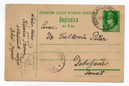 1949 YUGOSLAVIA, SLOVENIA, TPO 72  GORICA - LJUBLJANA, TITO, STATIONERY CARD, USED - Postal Stationery