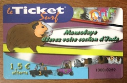 MON COBAYE TICKET SURF 1,5 EURO CARTE PRÉPAYÉE NTERNET 2008 CARTE A CODE PHONECARD PREPAID - Surf