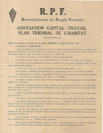 TRACT .  RPF .ASSOCIATION CAPITAL TRAVAIL. MARCEL DASSAULT . 1951. DISCOURS DE CANNES - Documentos Históricos