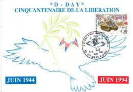 Sainte-Mère Eglise 1994 - BT D-Day - Débarquement Normandie - Colombe De La Paix & Rameau Olivier - Postmark Collection (Covers)