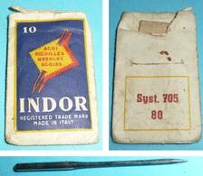 Rare Ancienne Pochette D'aiguilles INDOR Couture Dentellière Broderie Mercerie Needles - Outils