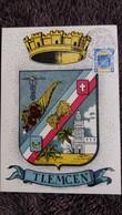 CPSM ARMOIRIES BLASON DE TLEMCEN ALGERIE PHOTO OFALAC TIMBRE 1957 1 ER JOUR MAXIMUM - Tlemcen