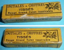 """Rare Ancienne Boite D'initiales Tissées Rouge  """"RL"""" Monogrammes Couture Broderie Mercerie, Chiffres Tissés France - Outils"""