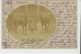 BELGIQUE - ANVERS - Carte Photo Enfants Posant Avec Chevaux En 1903 Postée à ANVERS , Destinataire Habitant BOITSFORT - Antwerpen