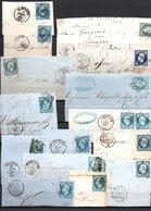 E19 Bel Ensemble De 56 Fragments Lettres N° 14B Bleu. Idéal étude Losanges GC Variétés Et Nuances ... Voir Commentaires - Collections