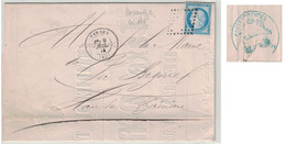 """1874 - GC ÉVIDÉ De TARBES Sur AFFICHE """" TAXE DES VIANDES BOUCHERIE """" + CACHET MAIRIE Pr VIC EN BIGORRE (HAUTES PYRENEES) - Marcophilie (Lettres)"""