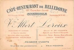 38 - Grenoble - Carte De Visite - Café-Restaurant De Belledonne - Cours Jean-Jaurès - Cartes De Visite