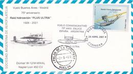 "VUELO BUENOS AIRES - MADRID, 75° ANIVERSARIO RAID HIDROAVION ""PLUS ULTRA"". ARGENTINA 2001SPC FLIGHT -LILHU - Vliegtuigen"