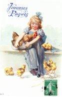 CPA -  Joyeuses Pâques  - Fillette Avec Poule Et Poussins  - écrite - Pâques