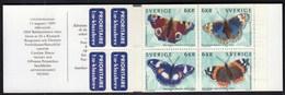 Sweden 1999 / Butterflies / MNH / Mi 2125-2128, Booklet MH 255 - Ungebraucht