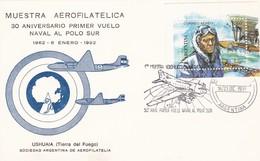 30 AÑOS DEL PRIMER VUELO NAVAL AL POLO SUR, 1° MUESTRA AEROFILATELICA TIERRA DEL FUEGO. ARGENTINA 1991 SPC FLIGT -LILHU - Polar Flights