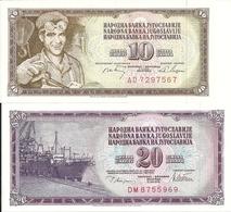YOUGOSLAVIE 10-20 DINARA 1968-78 UNC P 82-88 ( 2 Billets ) - Yougoslavie