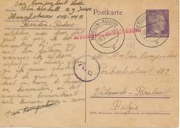Duits Postwaardestuk Berlin-Rudow 02.3.44 Naar België / Arbeidsgemeenschap Rudow - Censuur - Guerre 40-45