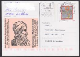 Germany PSo 66, Johannes Gutenberg, Erfinder Des Druckes Mit Beweglichen Lettern, Hildegard Von Bingen, MWSt. Trier - Cartoline Illustrate - Usati