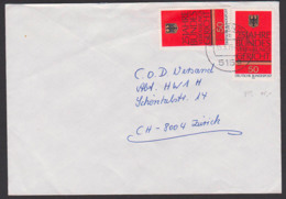 Germany 25 Jahre Bundesverfassungsgericht, Adler BRD 879(2) Portogenau Auslandsbrief Nach Zürich - Lettere