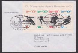 Germany Eiskunstlauf, Skisprung Eishockey, BRD Bl. 6 Portogenau Als Büchersendung Aus Kamenz, Kamjenz Zweisprach. SoSt. - Winter 1972: Sapporo