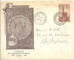 Lettre Avec Timbre YT 443 Centenaire De La Cathédrale De Strasbourg - Covers & Documents