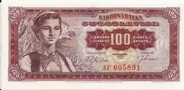 YOUGOSLAVIE 100 DINARA 1963 UNC P 73 - Yougoslavie