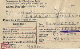 PRIGIONIERI POW CAMP DEPOT XXIII MIDELT MAROCCO 1943 IMOLA NAZI CENSOR - Posta Militare (PM)