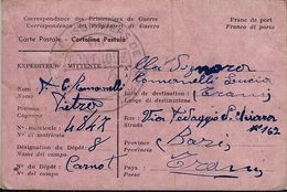 PRIGIONIERI POW CAMP DEPOT VIII CARNOT ALGERIA 1945 TRANI - Posta Militare (PM)